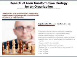 Benefits Of Lean Transformation Strategy For An Organization