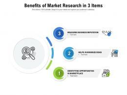 Benefits Of Market Research In 3 Items