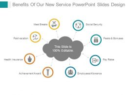 Benefits Of Our New Service Powerpoint Slides Design