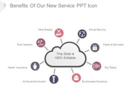Benefits Of Our New Service Ppt Icon