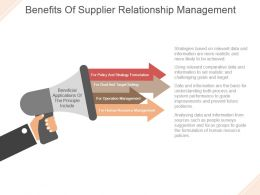Benefits Of Supplier Relationship Management Powerpoint Templates