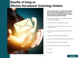 Benefits Of Using An Effective Recruitment Technology Solution
