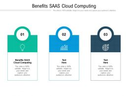 Benefits SAAS Cloud Computing Ppt Powerpoint Presentation Icon Sample Cpb