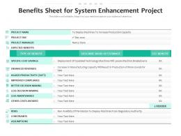 Benefits Sheet For System Enhancement Project
