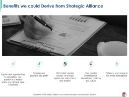 Benefits We Could Derive From Strategic Alliance Entry Ppt Powerpoint Presentation File Maker