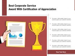 Best Corporate Service Award With Certification Of Appreciation