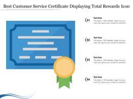 Best Customer Service Certificate Displaying Total Rewards Icon