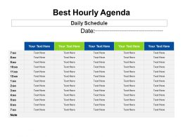 Best Hourly Agenda Example Of Ppt