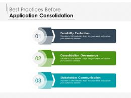 Best Practices Before Application Consolidation