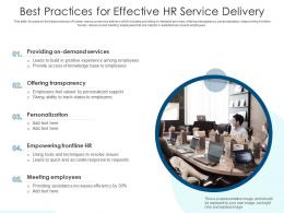 Best Practices For Effective HR Service Delivery