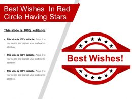 Best Wishes In Red Circle Having Stars