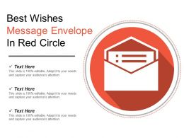 Best Wishes Message Envelope In Red Circle