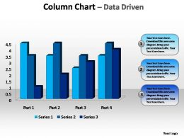 beveled column chart data driven editable powerpoint templates