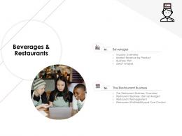 Beverages And Restaurants Hotel Management Industry Ppt Icons