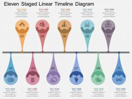 bf Eleven Staged Linear Timeline Diagram Flat Powerpoint Design