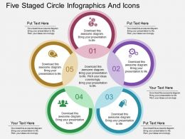 bf Five Staged Circle Infographics And Icons Flat Powerpoint Design