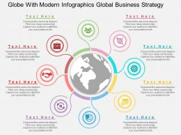 bf Globe With Modern Infographics Global Business Strategy Flat Powerpoint Design