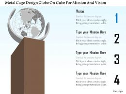 Bf Metal Cage Design Globe On Cube For Mission And Vision Powerpoint Template