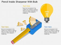 bf Pencil Inside Sharpener With Bulb Flat Powerpoint Design