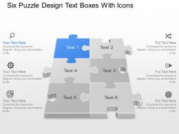 Bf Six Puzzle Design Text Boxes With Icons Powerpoint Template