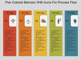 bg Five Colored Banners With Icons For Process Flow Flat Powerpoint Design