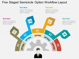 bg Five Staged Semicircle Option Workflow Layout Flat Powerpoint Design