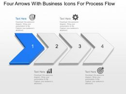 Bg Four Arrows With Business Icons For Process Flow Powerpoint Template Slide