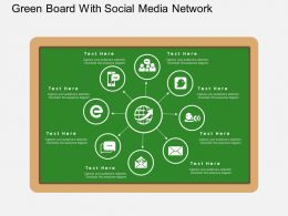 bg Green Board With Social Media Network Flat Powerpoint Design