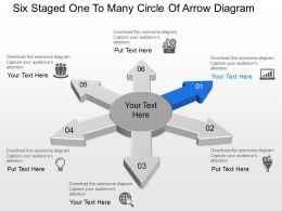 Bg Six Staged One To Many Circle Of Arrow Diagram Powerpoint Template