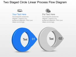 Bg Two Staged Circle Linear Process Flow Diagram Powerpoint Template Slide