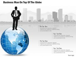 Bh Business Man On Top Of The Globe Powerpoint Template