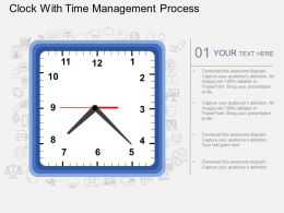 bh Clock With Time Management Process Flat Powerpoint Design
