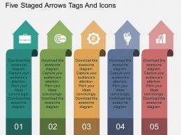 bh Five Staged Arrows Tags And Icons Flat Powerpoint Design