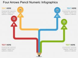 bh Four Arrows Pencil Numeric Infographics Flat Powerpoint Design