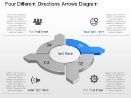 Bh Four Different Directions Arrows Diagram Powerpoint Template Slide
