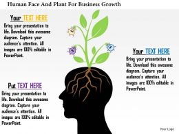 Bh Human Face And Plant For Business Growth Powerpoint Templets