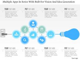 Bh Multiple Apps In Series With Bulb For Vision And Idea Generation Powerpoint Template