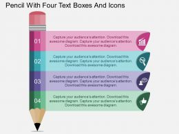 bh Pencil With Four Text Boxes And Icons Flat Powerpoint Design