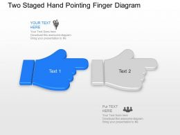 Bh Two Staged Hand Pointing Finger Diagram Powerpoint Template Slide