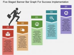 bi Five Staged Banner Bar Graph For Success Implementation Flat Powerpoint Design