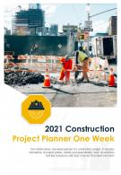 Bi Fold 2021 Construction Project Planner One Week Document Report PDF PPT Template One Pager