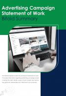 Bi Fold Advertising Campaign Statement Of Work Summary Document Report PDF PPT Template One Pager