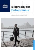 Bi Fold Biography For Entrepreneur Document Report PDF PPT Template One Pager
