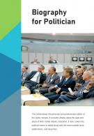 Bi Fold Biography For Politician Document Report PDF PPT Template One Pager