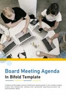 Bi Fold Board Meeting Agenda In Template Document Report PDF PPT One Pager