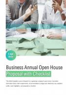 Bi Fold Business Annual Open House Proposal With Checklist Document Report PDF PPT Template