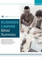 Bi Fold Business Canvas Summary Document Report PDF PPT Template