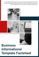 Bi Fold Business Informational Factsheet Document Report PDF PPT Template
