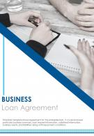 Bi Fold Business Loan Agreement Document Report PDF PPT Template