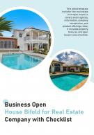 Bi Fold Business Open House For Real Estate Company With Checklist Document Report PDF PPT Template